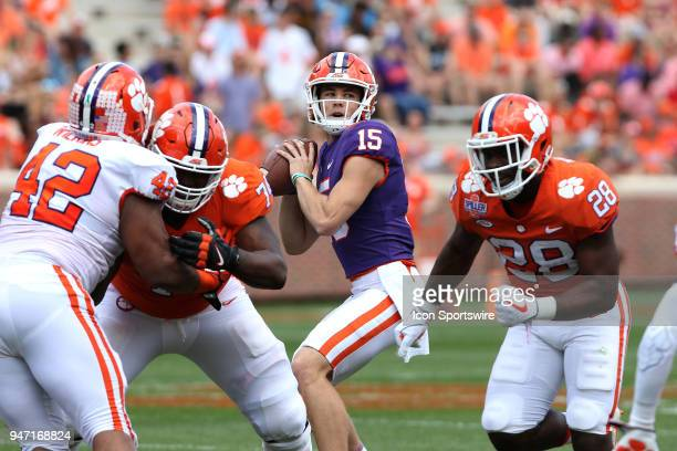 P Hunter Johnson looks to throw a passduring action in the Clemson Spring Football game at Clemson Memorial Stadium on April 14 2018 in Clemson...