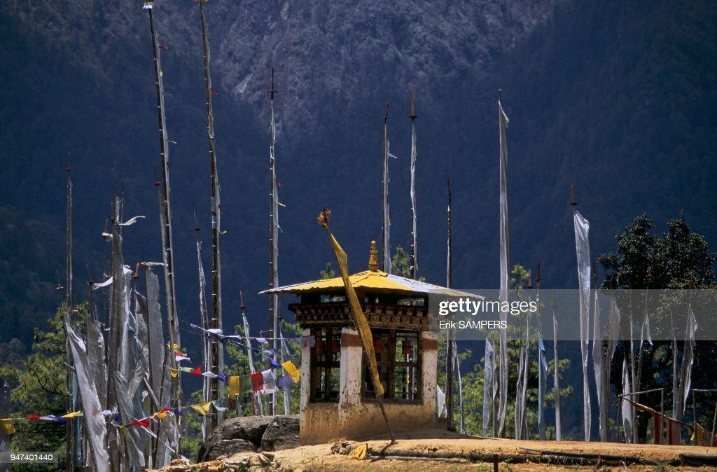 PETIT TEMPLE A TAKTSANG, VALLE DE PARO, BHOUTAN : News Photo