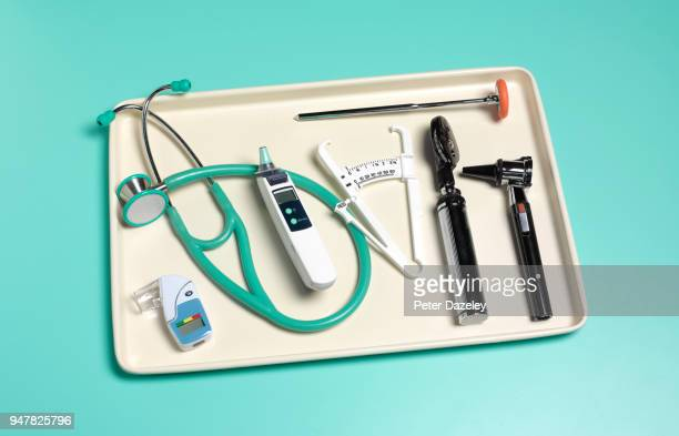 doctor's health check tray - skin fold calliper stock pictures, royalty-free photos & images