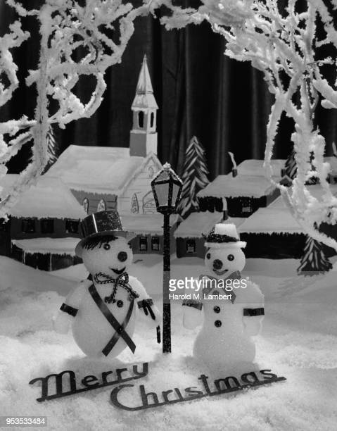 christmas decoration with merry christmas massage - westers schrift stockfoto's en -beelden