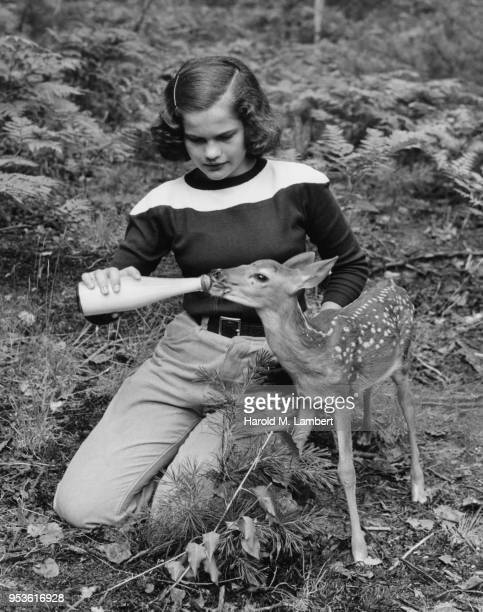 teenage girl feeding fawn