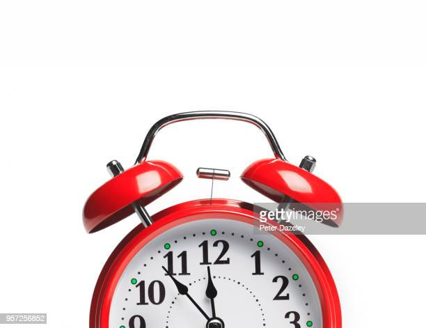 red alarm clock with copy space - urgency stock pictures, royalty-free photos & images