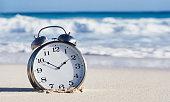 close up an alarm clock sand
