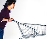 chinese woman pushing an empty supermarket