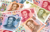 close up chinese yuan notes with