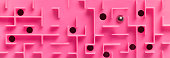 close up pink maze puzzle with