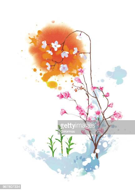 Conceptual flower art work on white background
