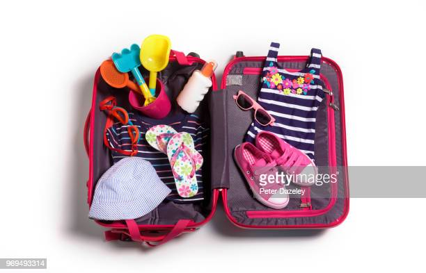 childs packed case for vacation - open toe stock pictures, royalty-free photos & images