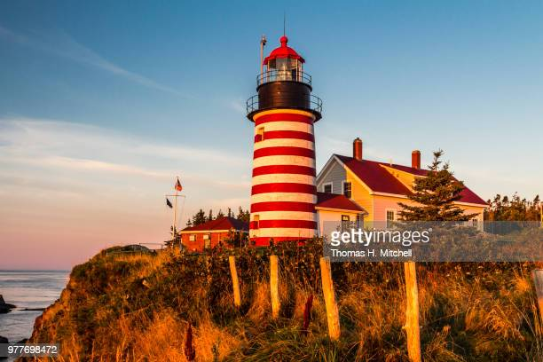 lubec-west quoddy light - lubec stock photos and pictures