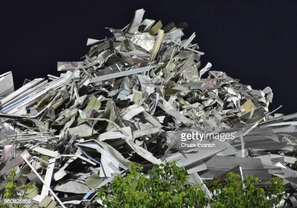 a big pile of aluminum junk - spoil system stock pictures, royalty-free photos & images