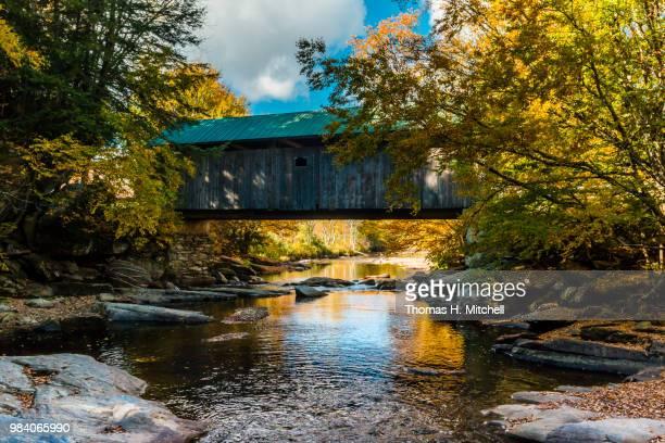 vt-belvidere-lumbermill bridge - brook mitchell foto e immagini stock