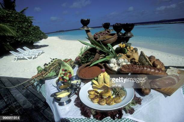 asia indian ocean maldives food - happy thanksgiving beach stock pictures, royalty-free photos & images