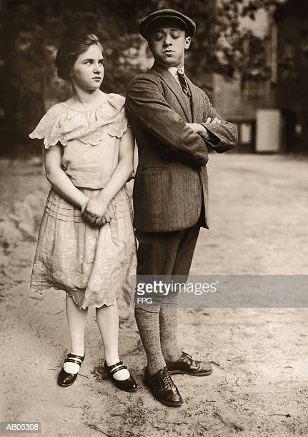 teen boy and girl, - plus fours stock photos and pictures
