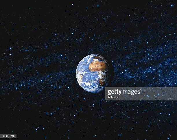world globe and starry sky - planet earth stock pictures, royalty-free photos & images