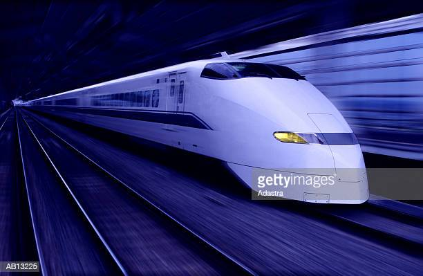 BULLET TRAIN PASSING THROUGH TUNNEL AT SPEED / JAPAN