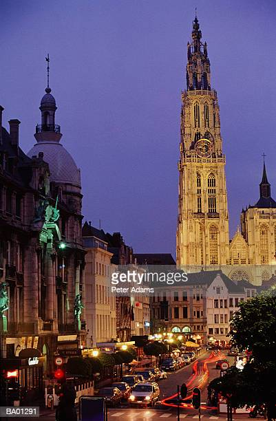 CATHEDRAL OF OUR LADY & BUSY ANTWERP STREET, BELGIUM
