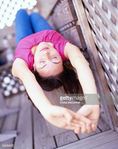 woman stretching on roof - mcconnell stock pictures, royalty-free photos & images