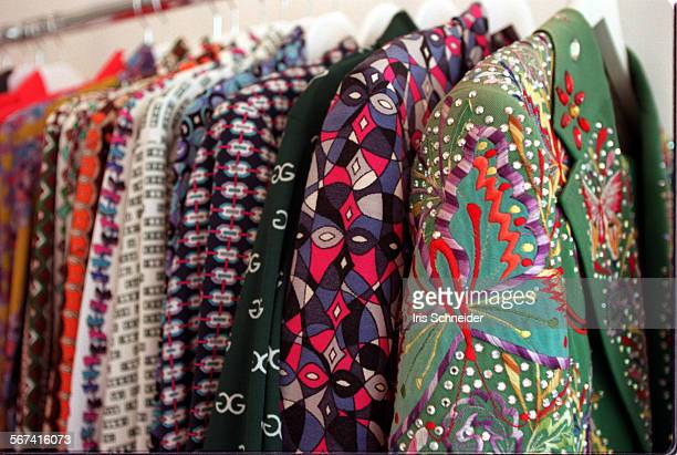 Melrose1isLIneup of 70's designer suits at Resurrection on Melrose includes a Nudie embroidered and bejewelled suit a Pucci suit a Givenchy shirt and...