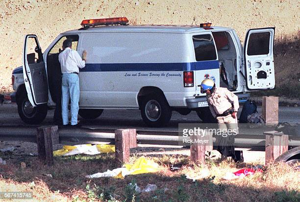 Rig3.rm Coroner and CHP officer at scene where three victims landed in dirt medium between the 71 to WB 10 trans road and the WD 10 freeway. They...