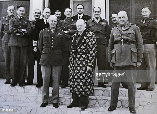 Prime Minister Winston Churchillshown here w/ some of the boysis smiling for the camera for the first time since his recent illness donned his famous...