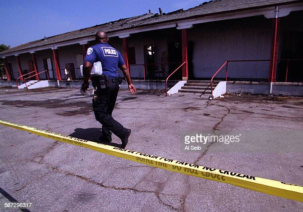 ME0705fire2AS Compton Unified School police tape of the area where a fire destroyed 3 classrooms a bathroom and a storage room at Tubman–Chavez High...
