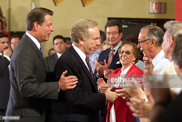 Gore2GF–Vice President Al Gore with his running mate Sen Joseph Lieberman meet supporters at Carthage Elementary School in Carthage Tennessee on...