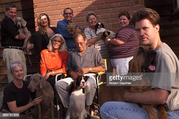 CA0928dogs1RG –– Dog lovers and movie critics gather at the El Monte home of Corky and Susan Vroom to talk about the movie Best in Show left to right...