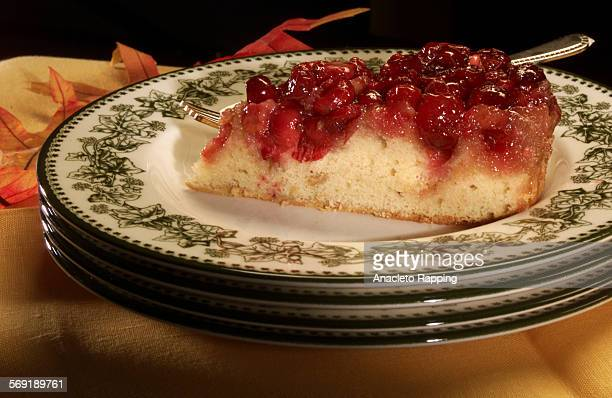 Upsidedown Cranberry Cake Studio photography of food products and dishes shot 10/25/00