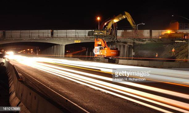 Demolition of the south portion of the Hampden Avenue Bridge <cq> began Sunday January 18th <cq> and will continue overnight for the next two nights...