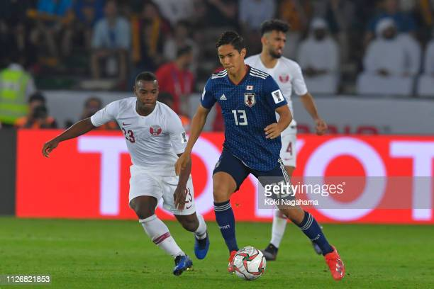 EMIRATES FEBRUARY 01Yoshinori Muto of Japan in action during the AFC Asian Cup final match between Japan and Qatar at Zayed Sports City Stadium on...