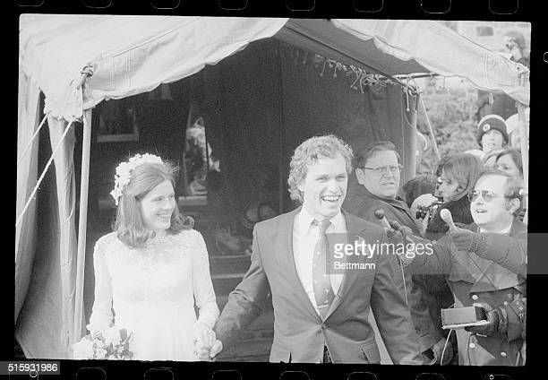 Gladwyne Pennsylvania Joseph P Kennedy II and his bride Sheila leave the church in Gladwyne as they smile for the crowd after their marriage here 2/3...