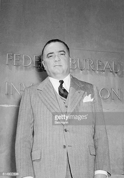 Washington DC Portrait of Federal Bureau of Investigation Director J Edgar Hoover outside the FBI building in Washington Hoover recently told a...