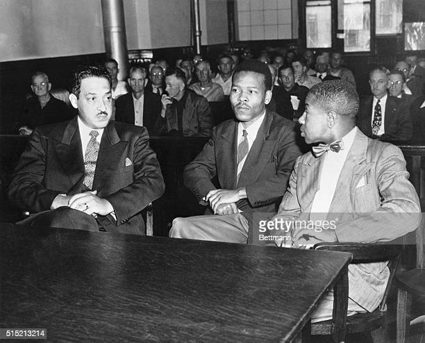 Walter Lee Irvin speaks with his attorneys during his trial for rape Thurgood Marshall WashingtonDC Chief Counsel for the NAACP Irvin and Paul C...