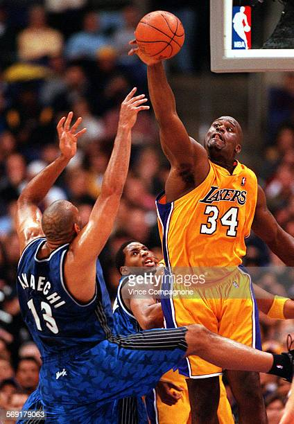 Lakers1VC The Lakers Shaquille O'Neal in addition to being an unstoppable force on offense today shows his defensive skills as he blocks a shot by...