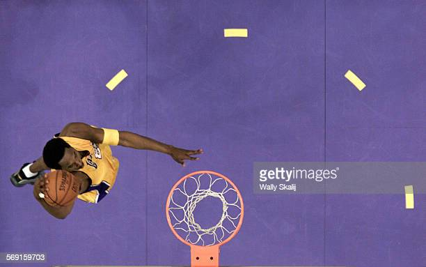 SP0506lakers21WS The Lakers Kobe Bryant goes in for a dunk during Game 1 of the Western Conference semi final game against the Sacramento Kings at...