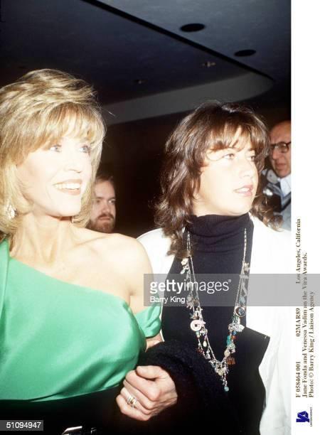 F 058464 001 02Mar89 Los Angeles California Jane Fonda And daughter Vanessa Vadim An The Vira Awards