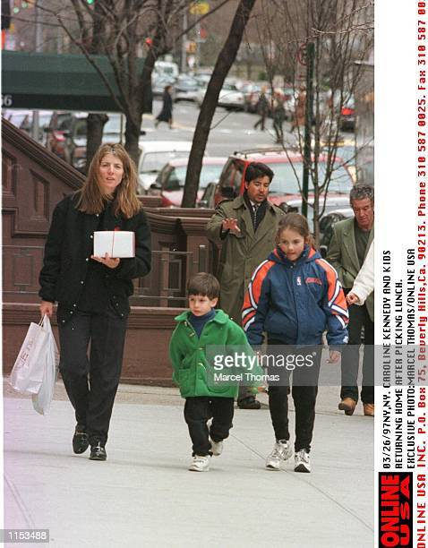Caroline Kennedy and daughter Rose and son John returning home after picking up lunch at a nearby resturant