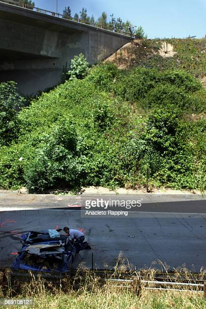 Crash1.AR Two 19 year old males were transported by helicopter and ground to Huntington Memorial Hospital in Pasadena after their car plunged off the...