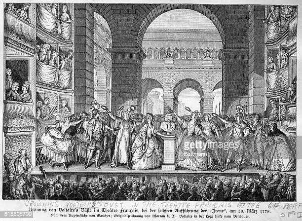 Crowning Voltaire's bust in the Theatre Francais at the sixth performance of Irene