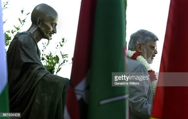 ME0823gandhiGW–– Arun Gandhi the grandson of Mohandas Gandhi gave the keynote address at the dedication of 'Gandhi Hall at Soka University in Aliso...