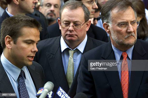 037808na1019anthrax3gf Lachlan Murdoch Chairman of the NY Post Col Allan Editor–In Chief Ken Chandler publisher of the NY Post addresses the media...