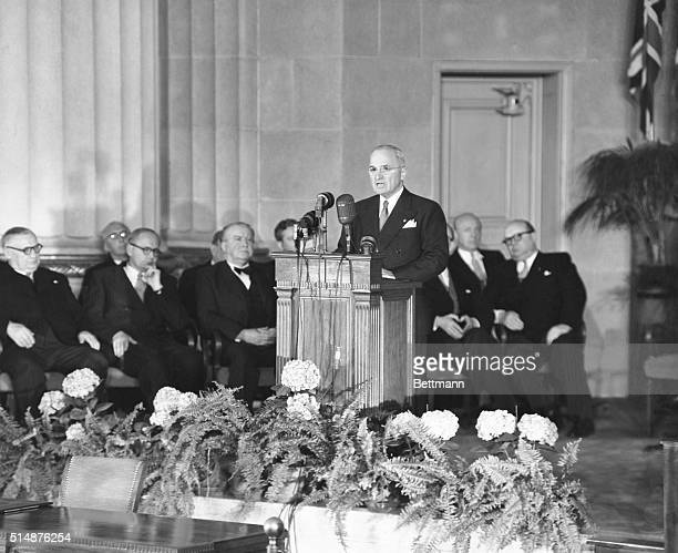 Washington DC TRUMAN SPEAKS AT PACT SIGNING President Truman speaks at the ceremonies preceding the signing of the North Atlantic Treaty April 4 in...