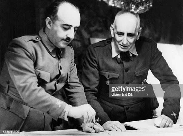 Politiker, Offizier; SpanienBürgerkriegbespricht mit General Jose Lopez-Pinto Berrizo diemilitärische Lage an der Nordfront in Navarra.Mai/Juni...