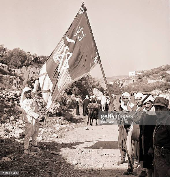 Hittin, Israel-: Here the Druze flag shows its ancient design, the Star of David, which the people claim carries over from the days of King Solomon....