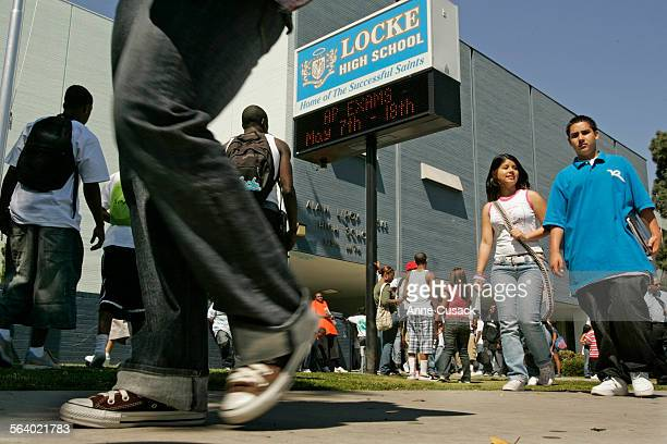 Los Angeles Students leave Locke High School at the end of the school day In a move that threatens the balance of power in the city's public school...