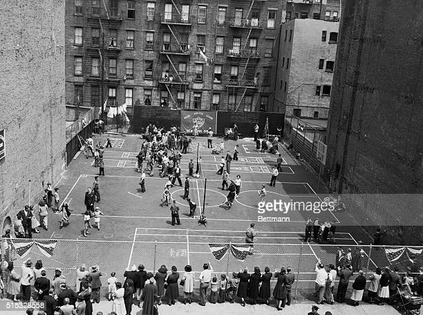 New York NYORIGINAL CAPTION READS Aerial viewYoungsters take part in various games at the opening of a new Police Athletic League playground at...