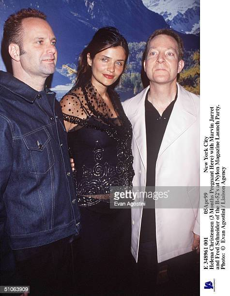 E 348961 001 05Apr99 New York City Helena Christensen With Marvin Jarret And Fred Schneider Of The B52's At Nylon Magazine Launch Party