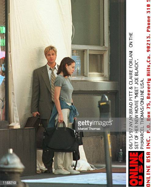 Brad Pitt and costar Claire Forlani on the set of 'Meet Joe Black' now shooting in NYC