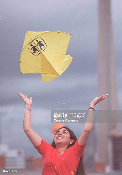 06/16/02Hina Jawaid releases a tissue paper kite at a festival and picnic in support of SOS Children's Villages Canada held at Fort York 'Basant' a...
