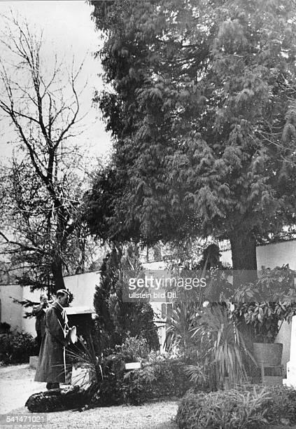 *07061837Zollbeamter Österreich Adolf Hitler am Grab seiner Eltern auf dem Friedhof von Leonding bei Linz ganz links im Hintergrund der Fotograf...